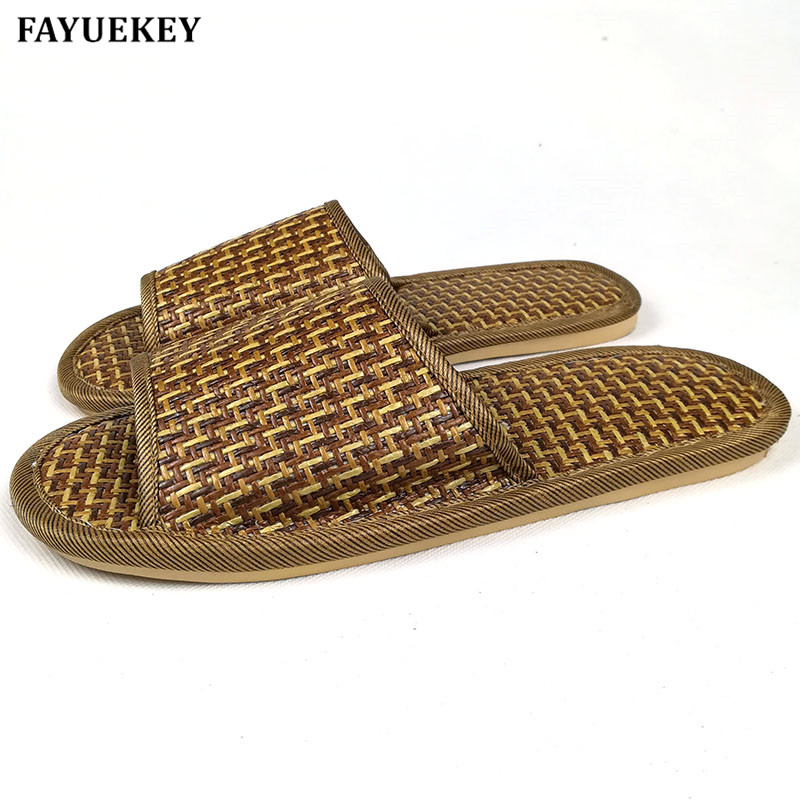 FAYUEKEY 2018 New Fashion Summer Thick House Bamboo Leisure Couples Slippers Home Indoor Floor Antiskid Linen Cane Slippers 2 pairs canbus no error auto led license plate lamp car number lights for chevrolet canbus cruze all cars 09