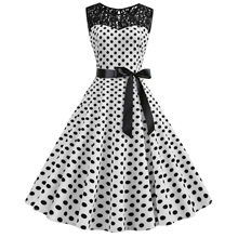 цены Summer Dress Vintage Lace Polka Dot White Black Printed Retro Bodycon Women Summer Sleeveless Plus Size Party Dress