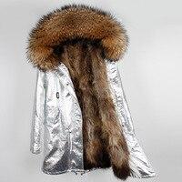 2019 новый серебристый пальто зимняя куртка Для женщин мех енота натуральный реального воротник капюшон верхняя одежда бренда Съемная 3 в 1 то