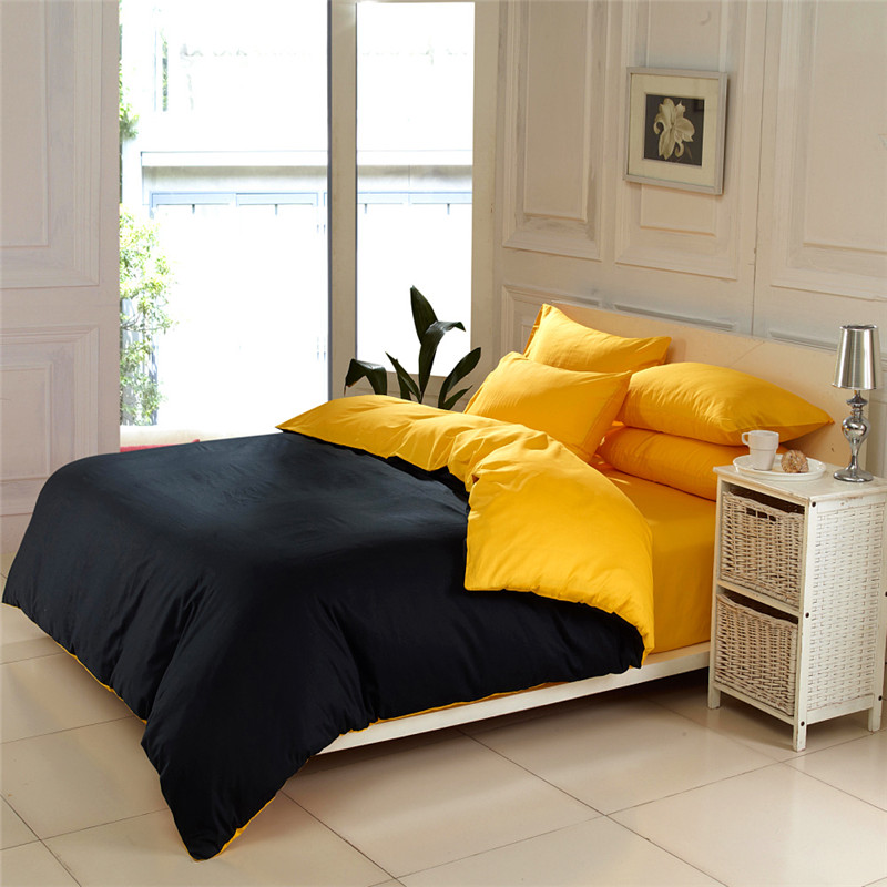 Contrast color solid color bedding sets queen king size for Queen size bedroom sets with mattress
