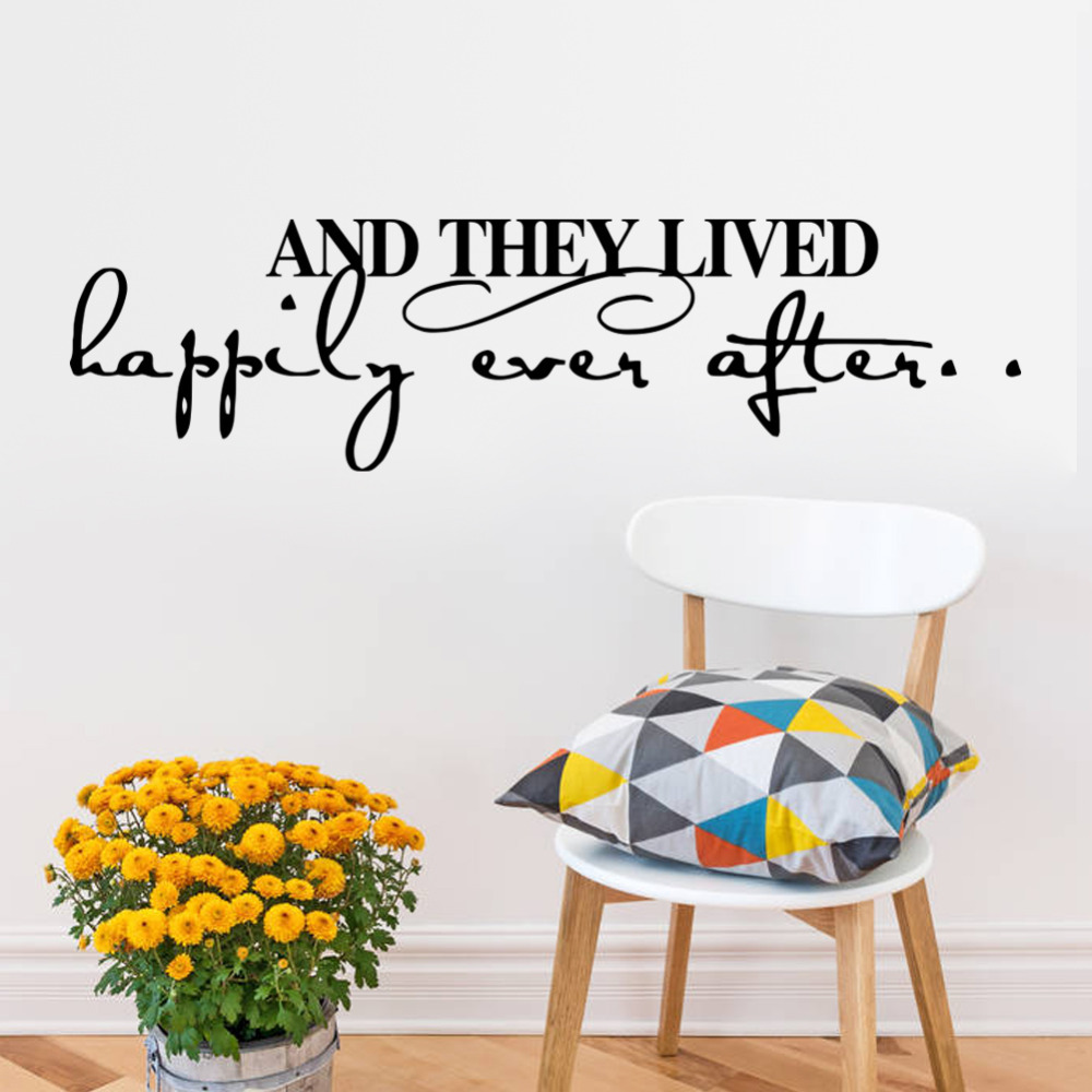 new warm quote LIVED HAPPILY home decal wall sticker /removable wedding decoration living room decor/ 3d wallpaper VA8452