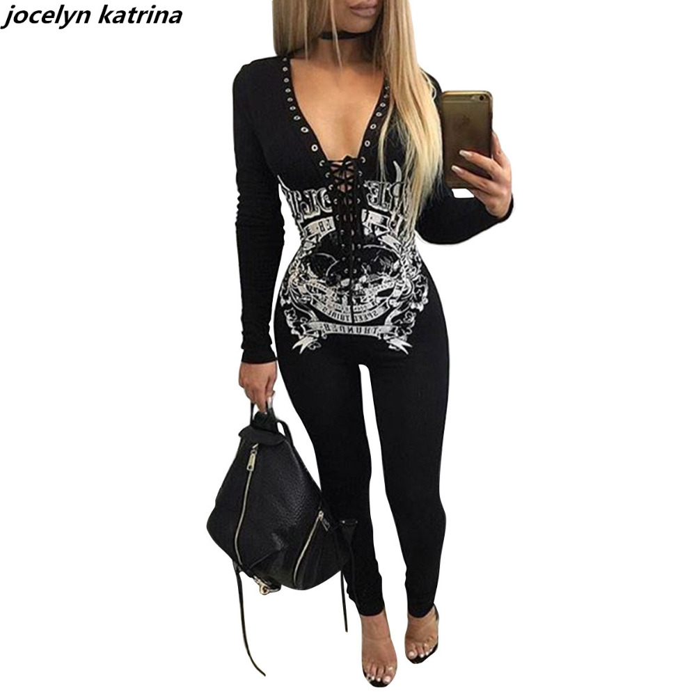 jocelyn katrina brand Summer Womens Jumpsuits Sexy Long Pant Deep V Neck Long Sleeve Jumpsuit Fitness Romper Bodysuits Jumpsuits