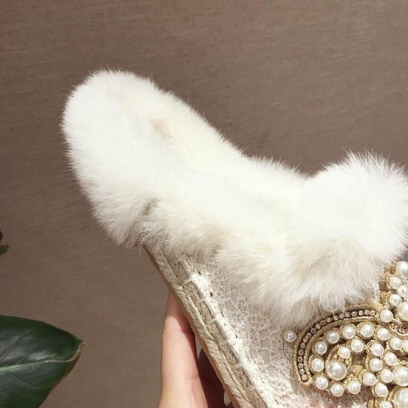 Des Wellwalk Maison Beige De Fourrure Pantoufles Mocassins Chaussures Luxe D'hiver Décor Mule Intérieur Femmes Cristaux Avec rrBPxq
