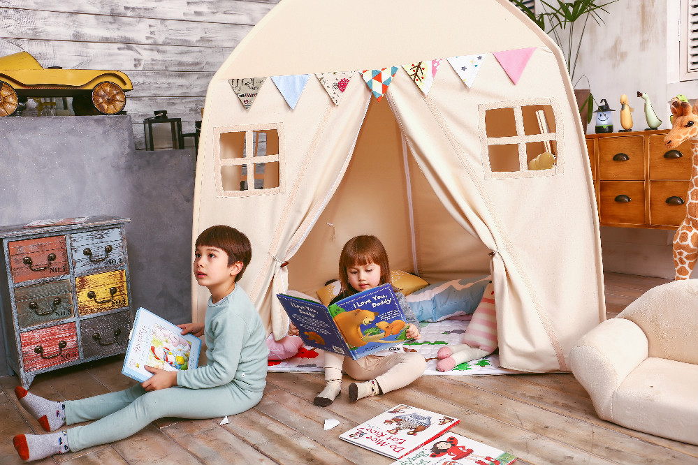 Love Tree Kid Play House Cotton Canvas Indoor Children Sleeping Tent Large Beige Toy In Tents From Toys Hobbies On Aliexpress