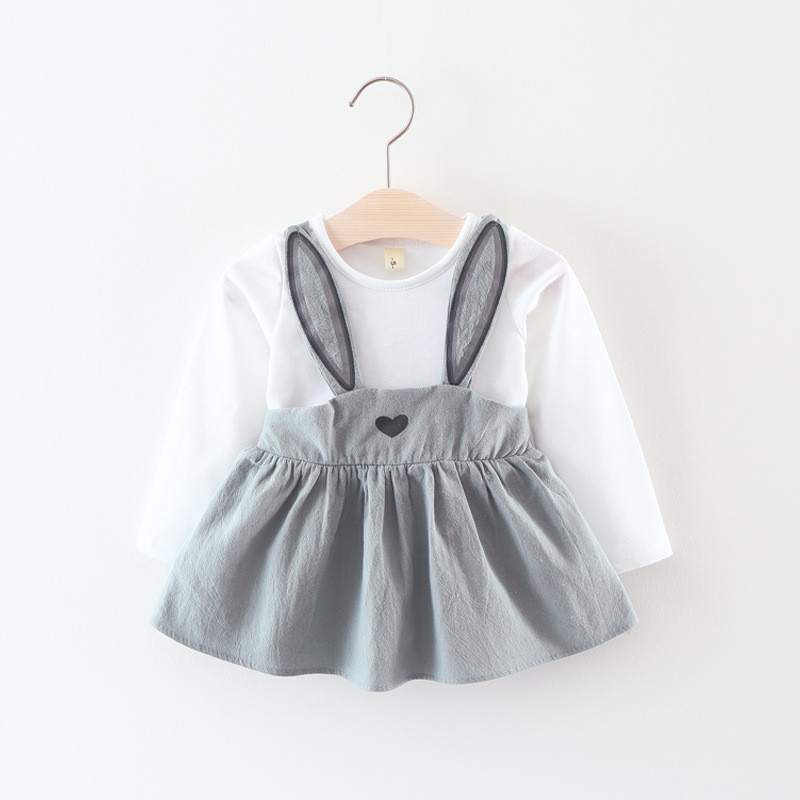 Lawadka Cute Rabbit Ear Baby Dress Cotton Cartoon Baby Girls Party Dress Autumn Baby Princess Infant Dresses
