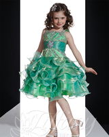 Green Ruffled Princess Girls Pageant Dresses 2016 Cute Tutu Little Girls Evening Gowns Organza Toddler Glitz Pageant Dresses