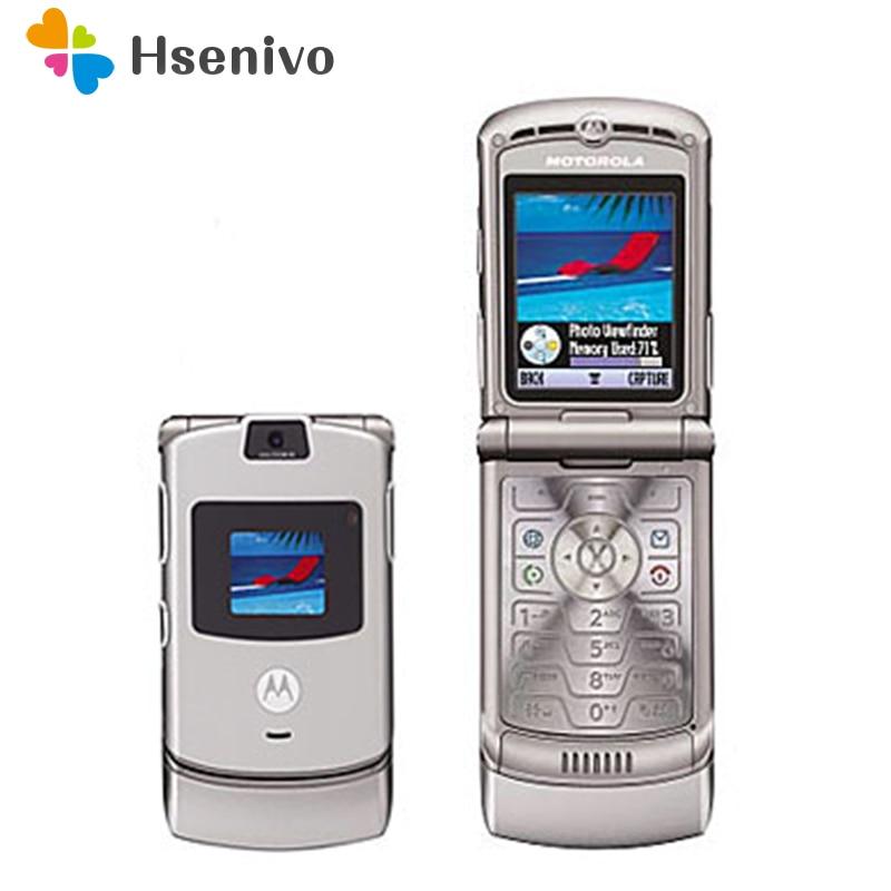 100% buena calidad mundo Original versión Flip cuádruple banda GSM Motorola Razr V3 teléfono móvil un año de garantía envío gratis