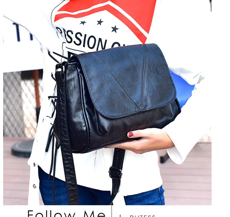 18 Women Messenger Bags Crossbody Soft Leather Shoulder Female Bag Flap Bolsa Feminina Designer Handbags High Quality Brand 9