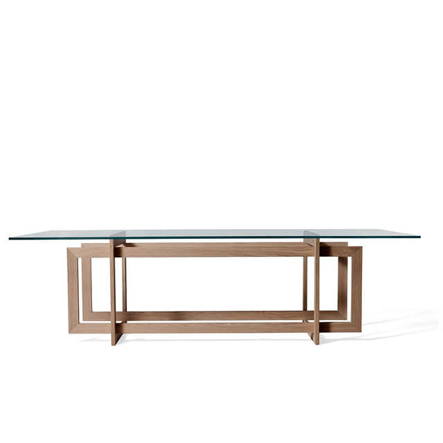 Direct modern minimalist 6 seater glass dining table sets all solid ...