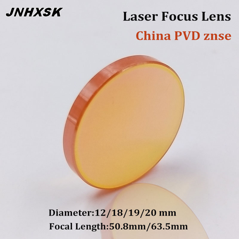 JNHXSK China ZnSe CO2 Laser Focus Lens Dia. 12 18 19 20mm FL 50.8 63.5 Mm PVD For Engraving Cutting Achine Parts