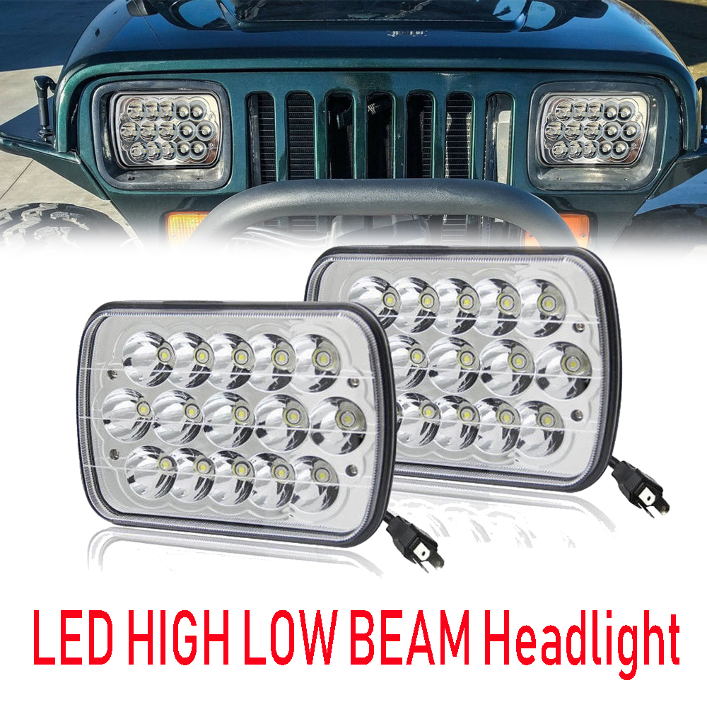 Pair 5x7 Projector 7x6 LED Headlight Bulb Set Sealed Beam OffRoad Headlamp Light for Jeep Cherokee XJ Nissan Motorcycle