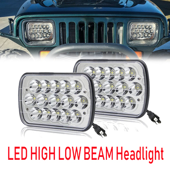 "Pair 90W 7x6"" 5X7"" LED Projector Headlight Hi-Lo Beam For Jeep Cherokee XJ"