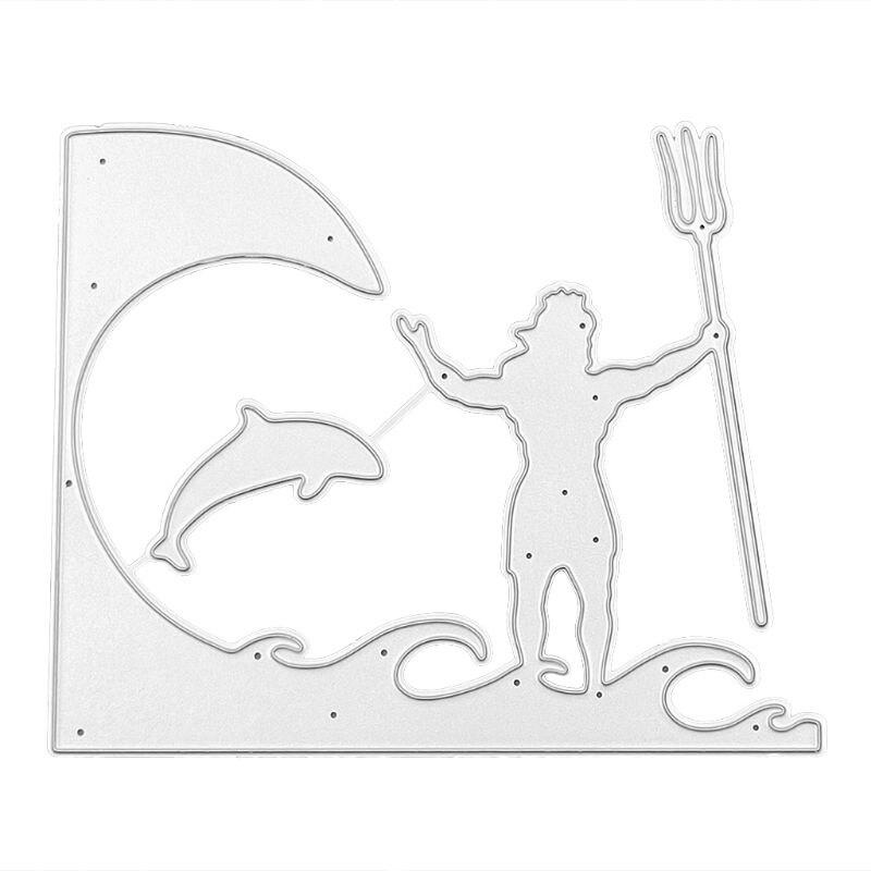 OOTDTY Fishing Metal Cutting Dies Stencil DIY Scrapbooking Album Stamp Paper Card Embossing Crafts Decor