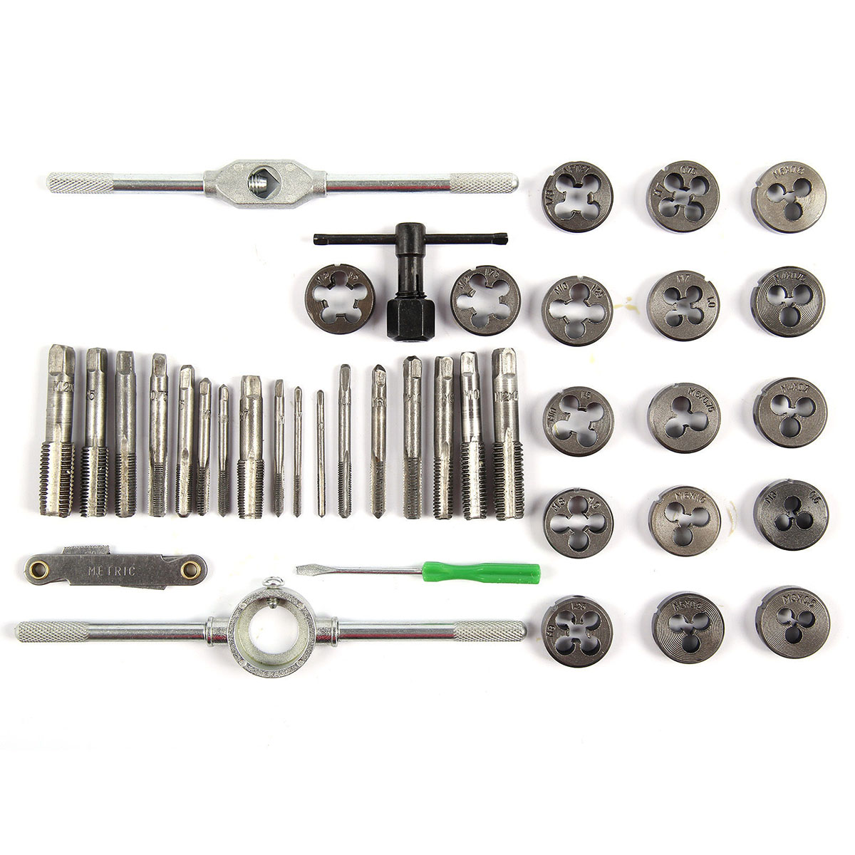 Image 5 - 40pcs Metric Alloy Steel Tap & Die Set M3 M4 M5 M6 M8 M10 M12 Screw Thread screw Plugs Taps with Wrench Broaching Hand Tools Set-in Tap & Die from Tools