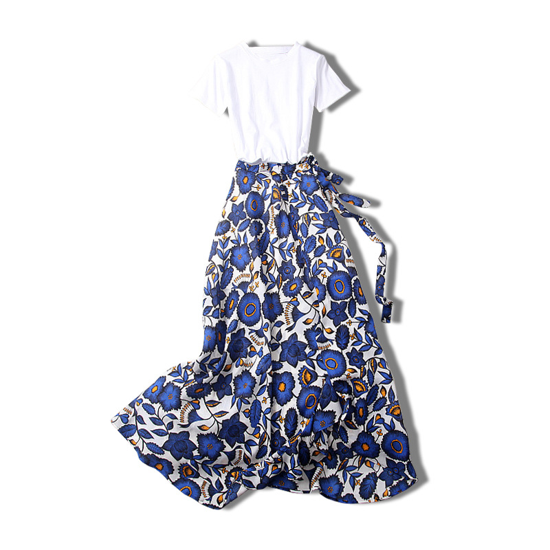 SummerTwo Piece Set Europe 2018 2 Piece Set Wome New O Neck T-shirt Crop Top + Printing Bow Tie Split Skirt Two Sets Suit Women