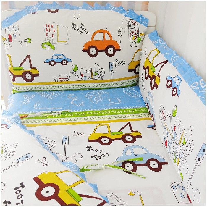 Promotion! 6PCS 100% cotton baby bedding set bed around bed sheets pieces set unpick and wash(bumpers+sheet+pillow cover)