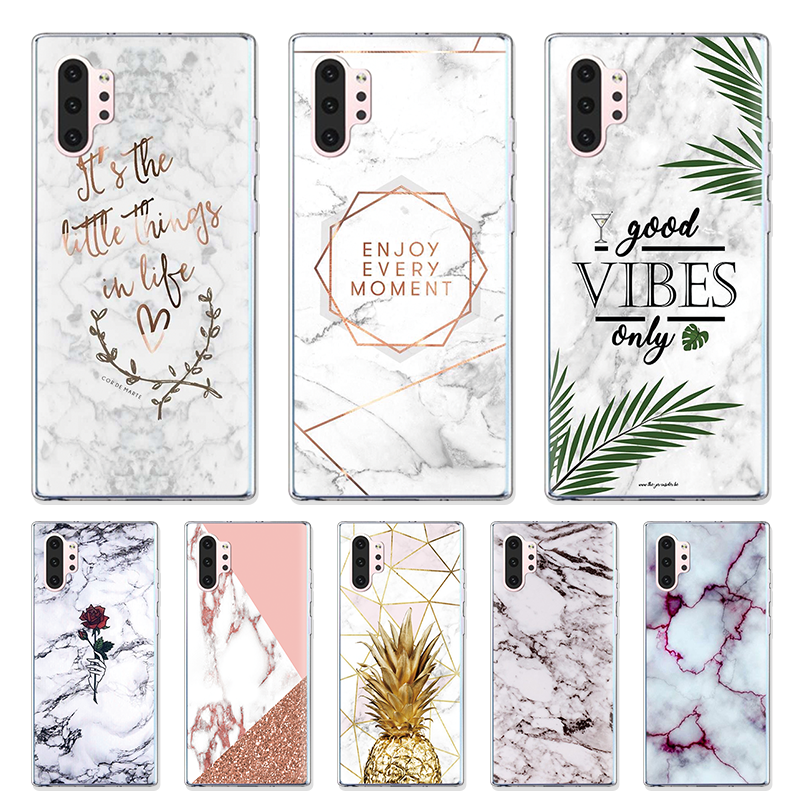 Marble Flowers Shell For Samsung Galaxy Note 10 Pro Case For Samsung Galaxy A50 A70 A20e A30 A40 Geometric Pineapple Clear Cover