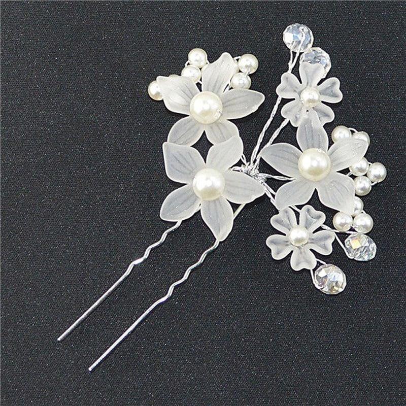 Us 0 93 15 Off Elegant Wedding Hair Jewelry Crystal Imitated Pearl White Flower Hair Pins Charm Handmade Bridal Hair Accessories Hair Ornaments In