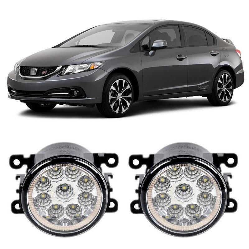 Car Styling DRL Daytime Running Lights For Honda Civic Si 2013 2014 2015 9-Pieces Leds Fog Lights H11 H8 12V 55W LED Fog Lamp