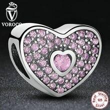 Regalo de la navidad de Los Encantos Fit Pandora Original Pulsera Collar de Pura Plata Esterlina 925 Del Amor Rosado de Lujo CZ Beads S132