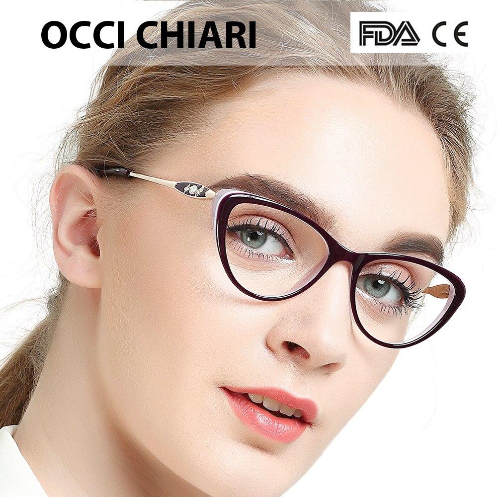 OCCI CHIARI Women Glasses Frame glasses clear Eyeglasses Frames Acetate Spectacles Myopia Gafas Fashion Eyewear Frames W-COLORU