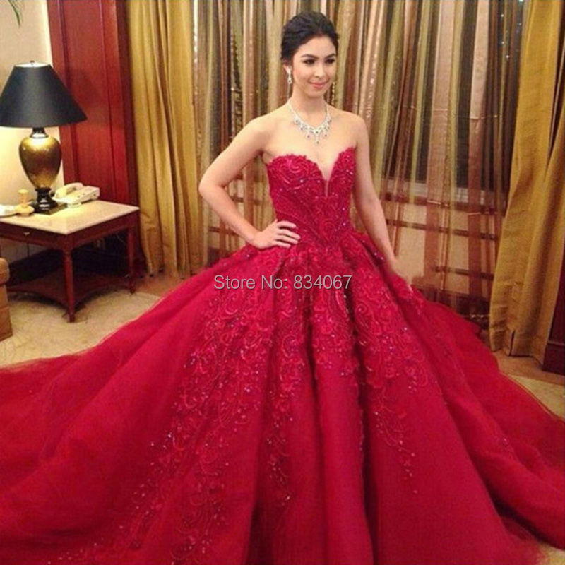 Back Lace Up Beautiful Ball Gown Red Wedding Dress 2016 Vestido De Noiva Sweetheart Bridal With Liques Casamento In Dresses From