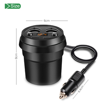 2018 Hotsales Car Fast Charger Cup charger with independent switch Qi Wireless Car Cup Fast Charger with 2 UISB Port for Mobile