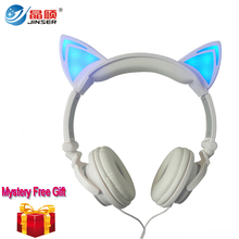 With Free Gift Cat Ear Wired Headphone folded headband earphone LED cosplay headphones suitable for holiday gift or gala parade
