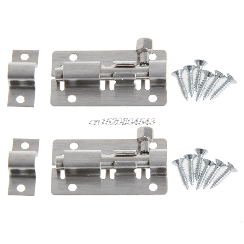 1 Pair Stainless Steel Door Lock Latch Slide Straight Barrel Bolt Clasp Set R11 Drop ship