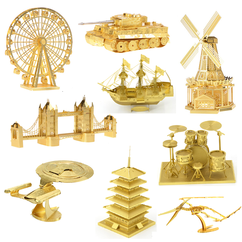 3D DIY Metal Jigsaw Puzzle Toys Mini Brass Gold Dinosaur Building Model Assemble Collection Stereoscopic Toys For Kids Adult