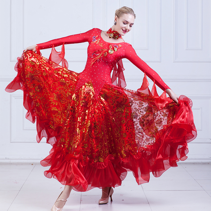 2018 New Ballroom Dance Competition Dresses Women Long Sleeve Led Costume Modern Waltz Dress Adult Performance Dance Wear DN1264