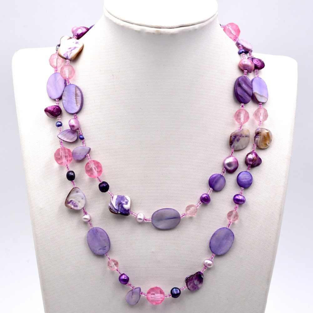 New Arrival Fashion Jewelry Purple Mother Of Pearl Shell Seed Bead Long Necklace For Women Party Gift