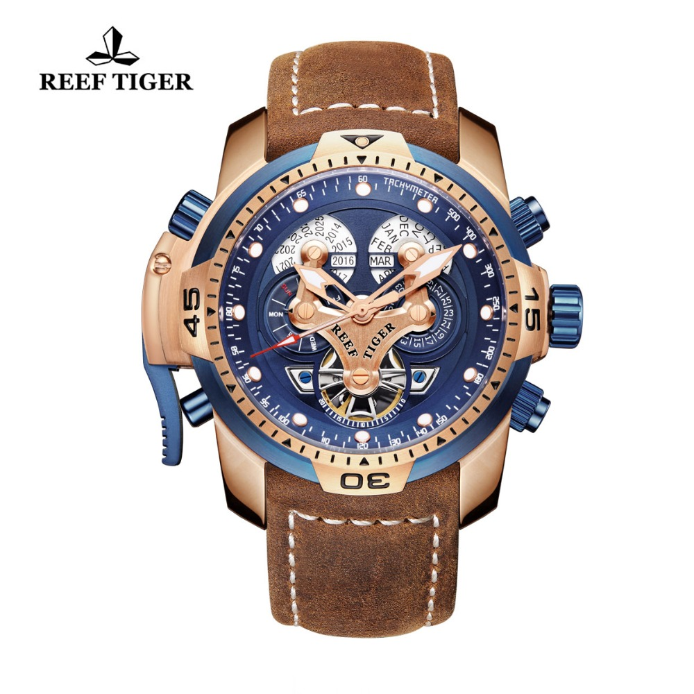 Reef Tiger RT Brand Military Watches for Men Rose Gold Blue Dial Brown Leather Strap Automatic