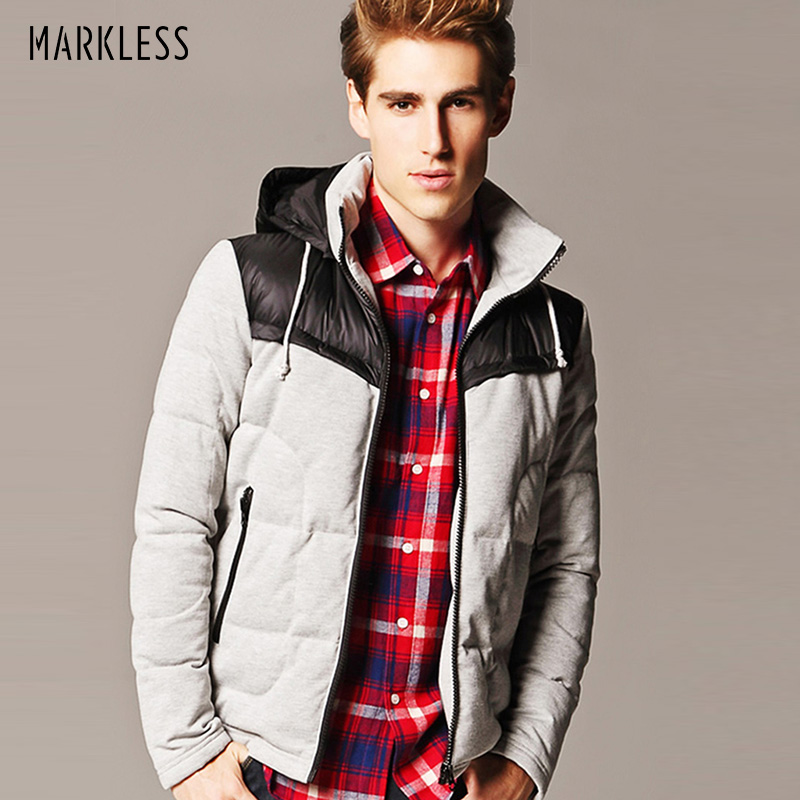 Markless Winter Jacket Men's Brand Clothing 90% White Duck   Down   Thick Warm   Down     Coats   Hooded Parka doudoune homme