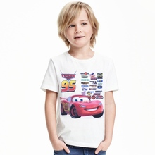 2017 Cartoon Car 1-12Y Cars Boys Girls T Shirts Cotton New Summer Children Kids Tops Tees T Shirt For Boy Girls Costume Clothing