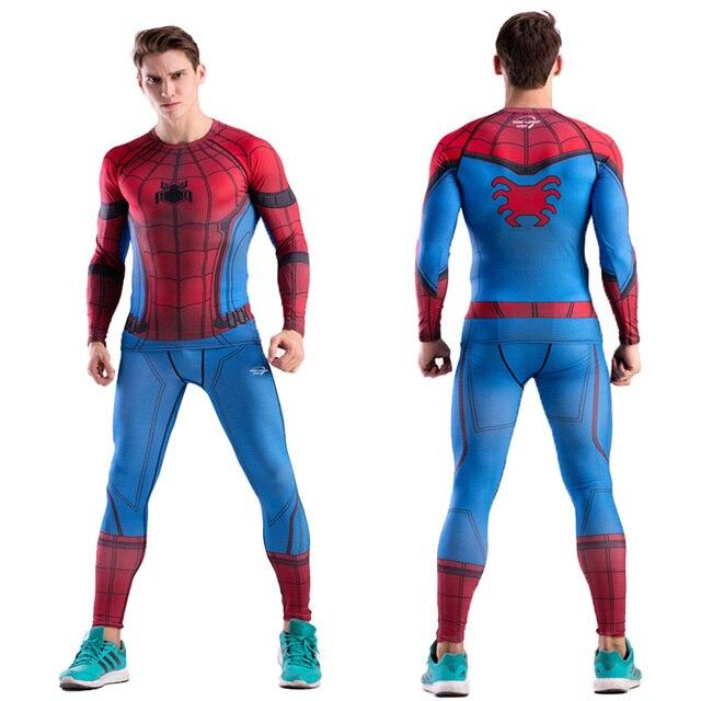 Camisa De Compressão Calças Dos Homens MMA Rashguard Marvel Capitão América The Flash Spider Man Winter Soldier CODYLUNDIN Pantera Negra