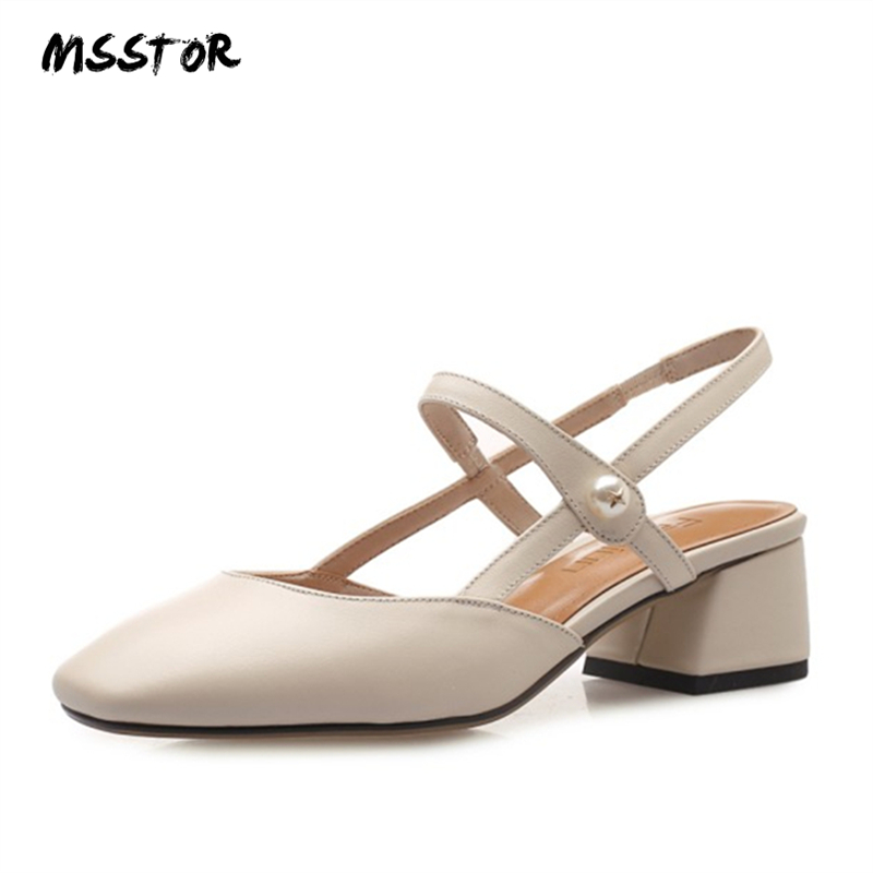MSSTOR Leather Sandals Women Black Fashion Square Toe Elastic Band Basic Shoes Woman Summer Party Concise