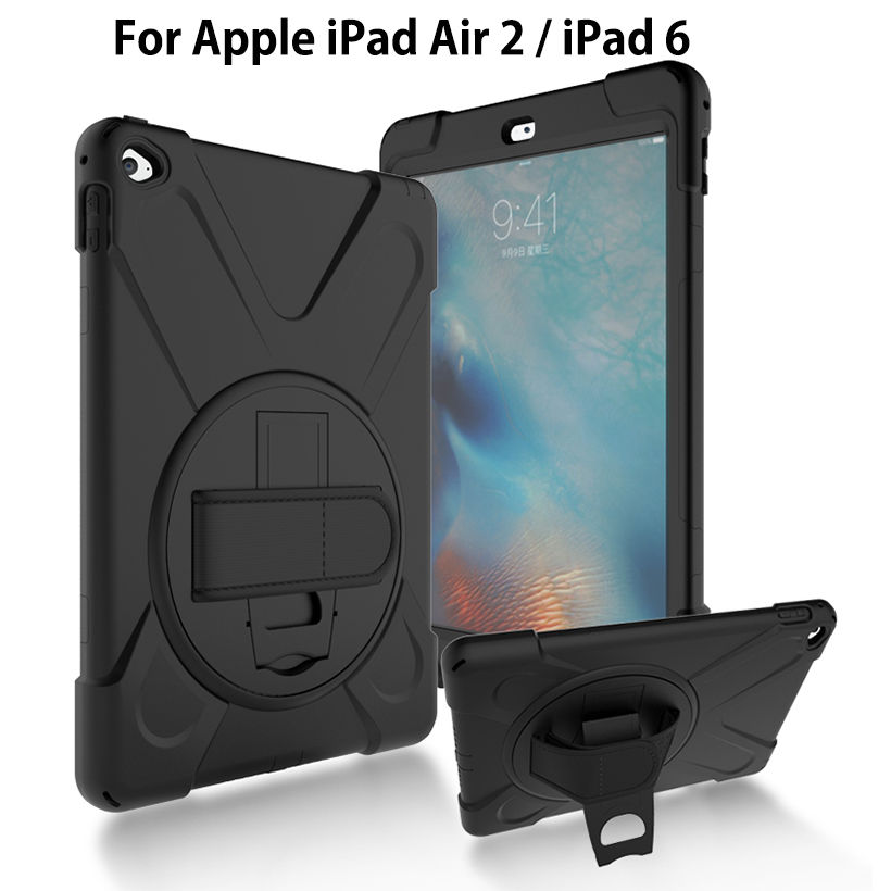 Armor Heavy Duty Case For Apple iPad Air 2 ipad 6 Cover Funda Tablet Kids Safe Shockproof Soft Silicone Hard Stand Hand Shell 2017 fashion kids silicone tablet case for apple ipad 2 3 4 armor shockproof waterproof heavy duty hard cover shell stylus film