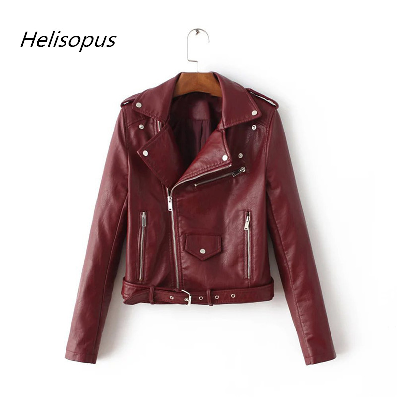 Helisopus 2019 Autumn Winter PU   Leather   Jacket Women Slim Casual Thin Basic Jacket Streetwear Fashion Short Coats Female Jacket