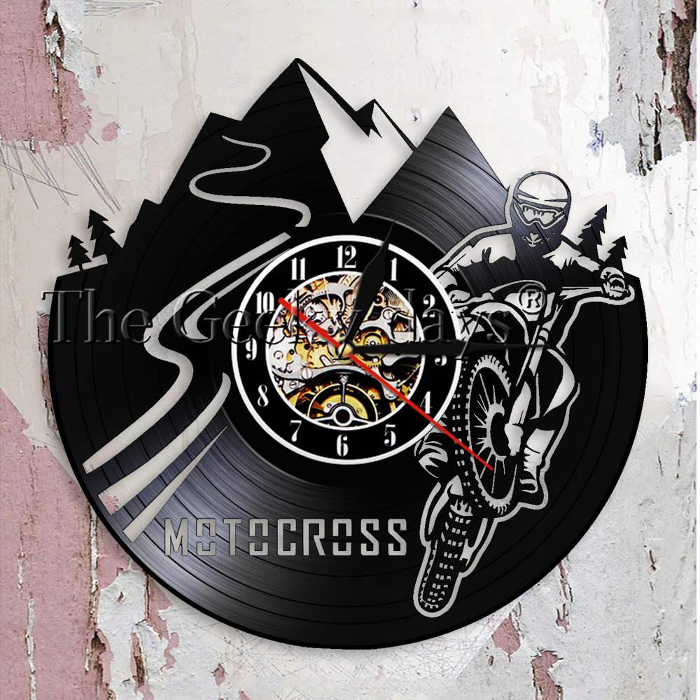 Sepeda Motorcross Jam Dinding Anak Kamar Dekorasi Rumah Sepeda Motor Trail  Vinyl Record Jam Dinding Balap Motorcross Motor Anak Sepeda Motor  Pengendara ... 744b007013