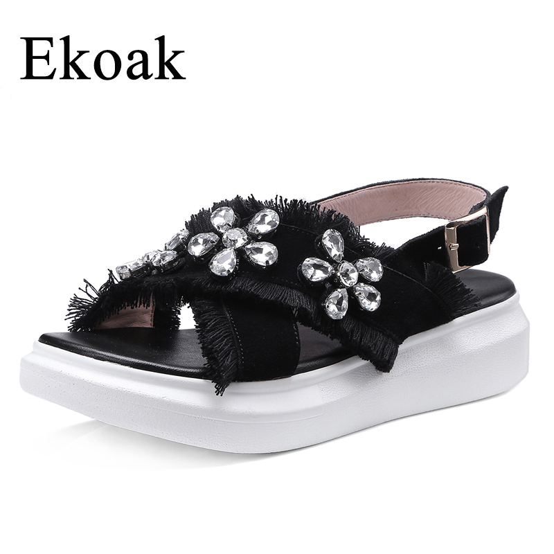 Ekoak 2018 Genuine Leather Platform Women Sandals Fashion Sheepskin Women Gladiator Sandals Summer Crystal Party Shoes Woman phyanic 2017 gladiator sandals gold silver shoes woman summer platform wedges glitters creepers casual women shoes phy3323