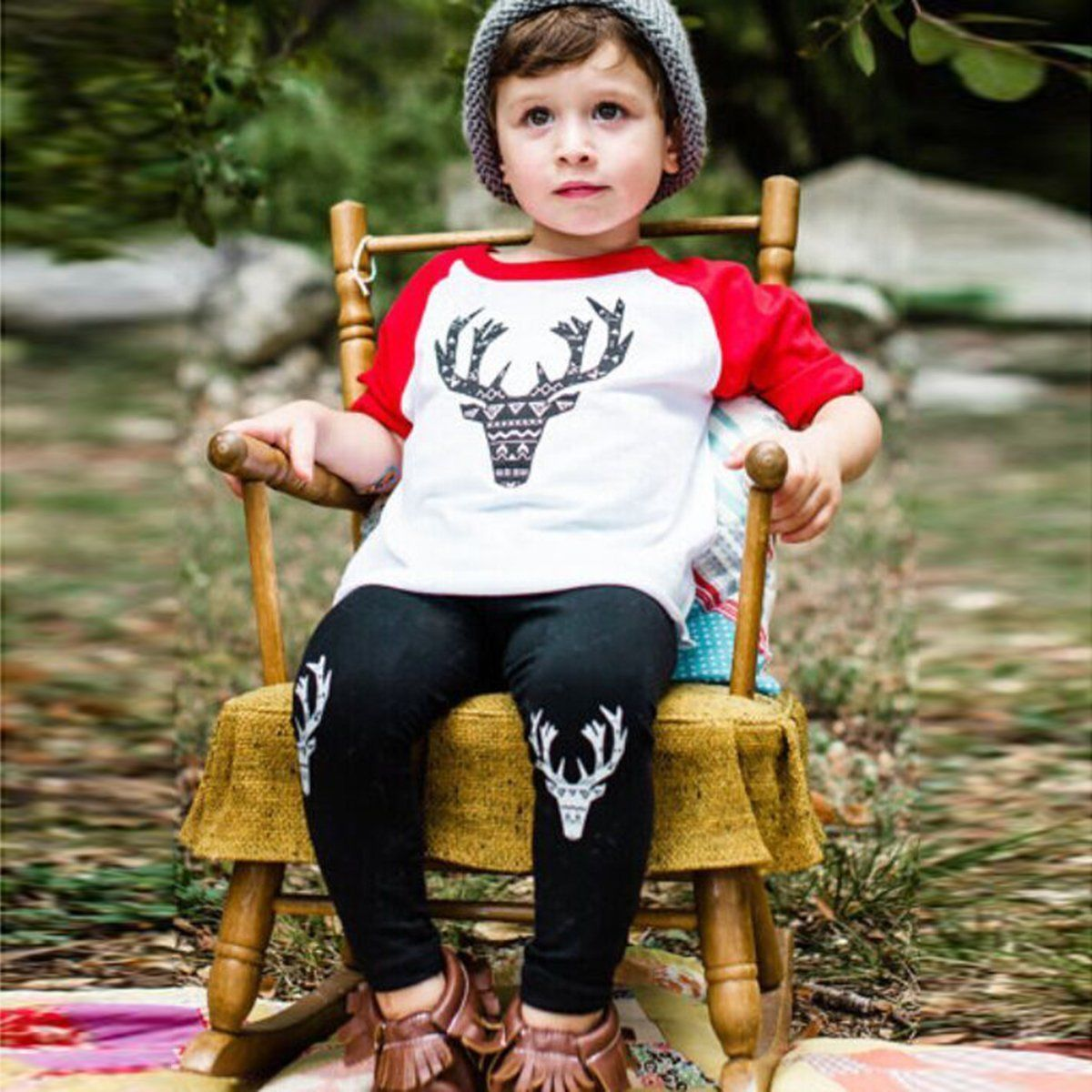 Puseky Baby Full Clothing Sets 2pcs Toddler Kids Baby Boy T shirt Tops Long Pants Trousers