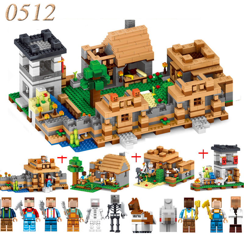 4 In 1 Minecrafted Figures My World Model Neverland Ranch Building Blocks Plastic Compatible Toys Gift For Children #E smartable building blocks of my world minecrafted lepin 4in1 steve with weapon figures brick model toys for children gift lr 823