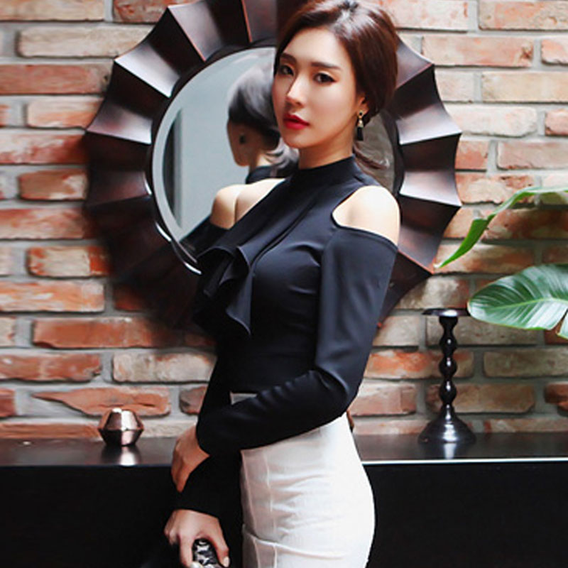 2018 Autumn Sexy Women Black Cloth Top Hollow Out Off Shoulder Full Sleeve Office Work Chiffon Blouse