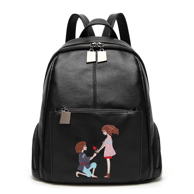 Ladies Printing Embroidery Women Backpacks Fashion School Bags For Teenage Girls Pu Leather Mochila Feminina XB1604