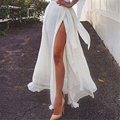 High Quality 2016 Summer New Fashion Vintage Elegant Bohemia Chiffon Pleated Split Women Boho Long Maxi Tulle Beach Party Skirt