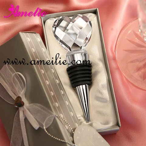 Wholesale Heart Crystal Topper Design Wine Bottle Stopper Favors Metal Silver Wine Stopppers Wedding Gifts+Free Shipping