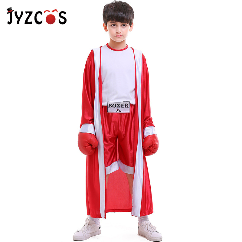 JYZCOS Kids Boxer Costumes Blue Red Robe Boxing Gloves Boy Girl Halloween Party Cosplay Costumes School Boxing Match Game Suit