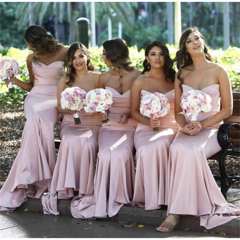 Elegant Pink Mermaid Wedding   Bridesmaid     Dress   Long Sexy Sweetheart Backless   Dress   for Wedding Party Robe Demoiselle D'honneur