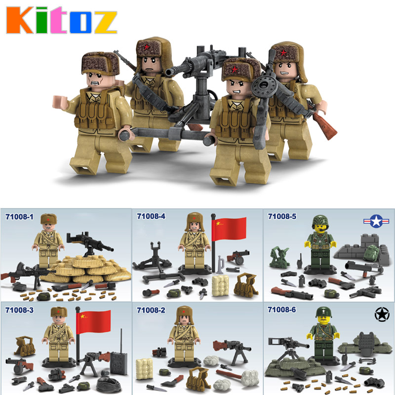 6pcs//set Military Eighth Route Army Soldier Building Blocks Bricks Figures Toys